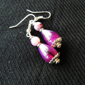Stunning Raspberry Agate Drop Earrings - Handmade!